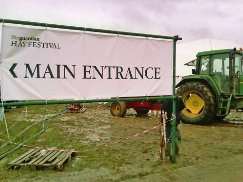 Hay Literary Festival - flooded car park in mud